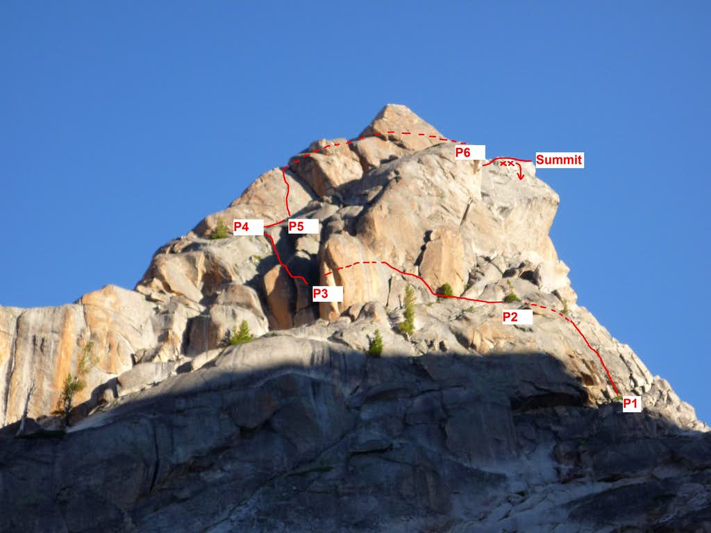 Warbonnet - South Face Route Overlay