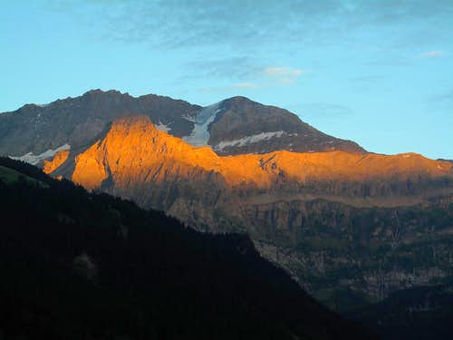 The Ammertenhorn in front of the Wildstrubel in sunset glow 1