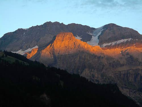 Fading sunset on the Ammertenhorn (2666m) in front of the Wildstrubel (3243m)