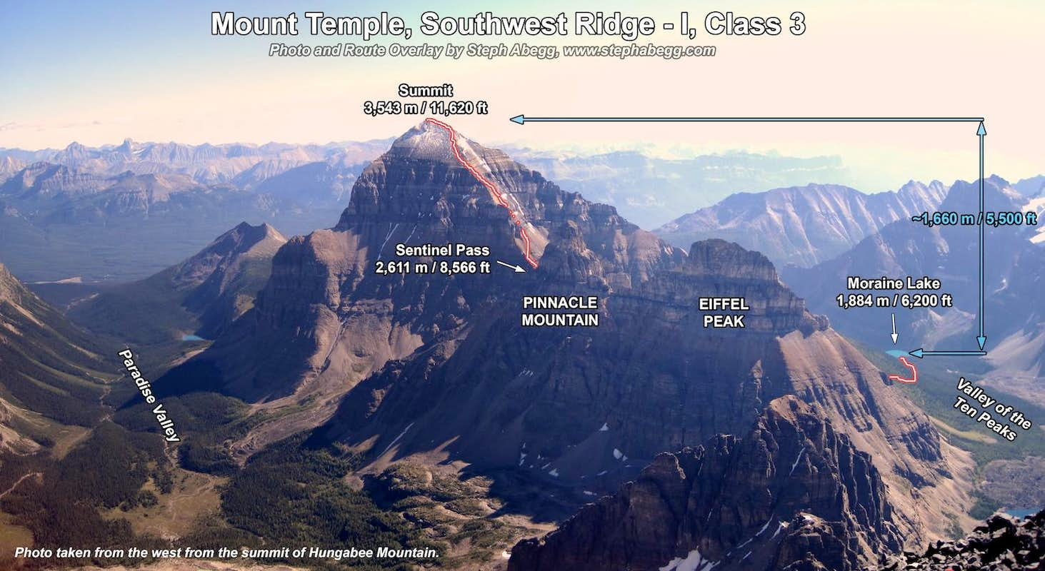 Mt. Temple, SW Ridge Route Overlay