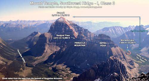 Mt. Temple, SW Ridge Route Overlay
