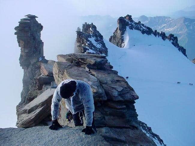 Climbing the summit ridge...