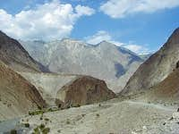 Dirt Road Carved out of a sheer cliff face in the Hindukush