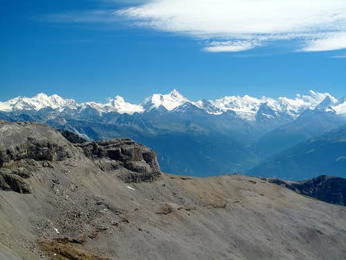 View to the 4000ers of the Pennine Alps