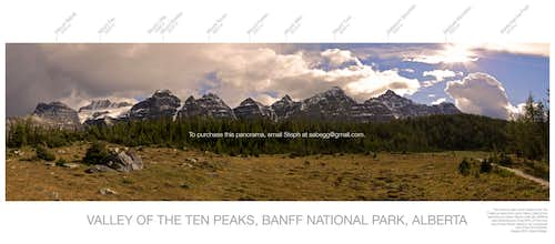 Valley of the Ten Peaks, labelled panorama