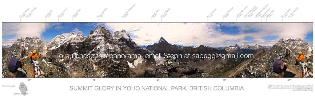 Summit glory in Yoho NP, labeled panorama