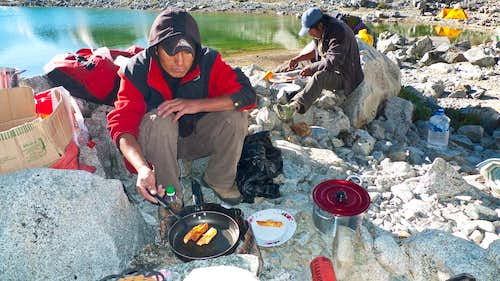 Cooking at Yanapaccha Base Camp