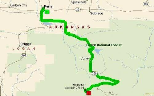 Map from Paris, Arkansas to...