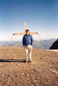 Me in front of the summit cross of the Wildstrubel in September 1991