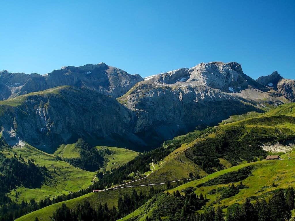 Iffighorn (2378m), Schnidehorn (2937m) and Niesehorn (2776m) seen from Leiterli above Lenk
