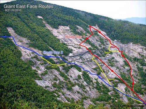 Giant East Face Routes