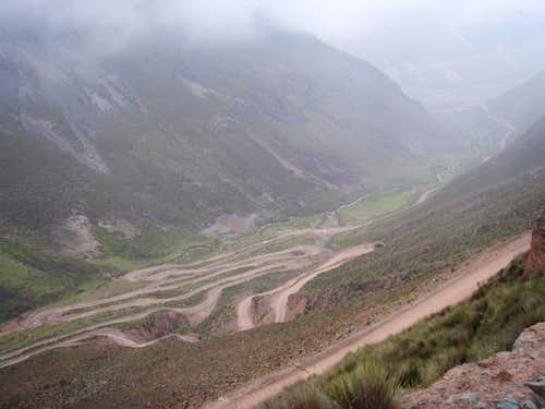 The many switchbacks of the mining track approach