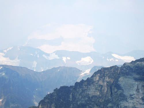Mount Clemenceau in the smoky distance