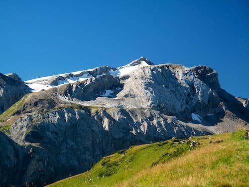 Wildhorn (3248m) and Niesehorn (2776m) seen from below Leiterli above Lenk