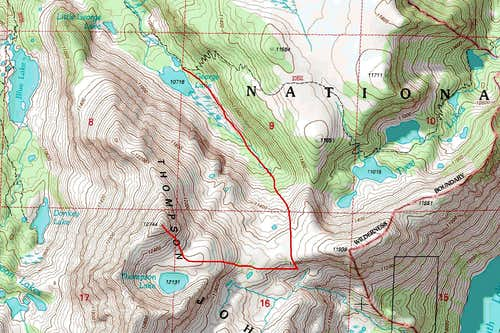 Topographic map of the route from George Lake to the summit