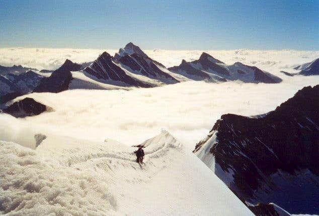 Descending on the ridge of...