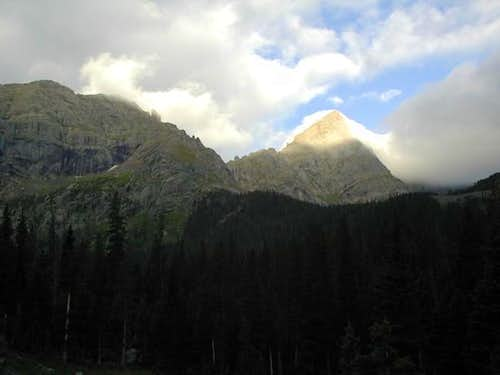 Broken Hand Peak (left) and...