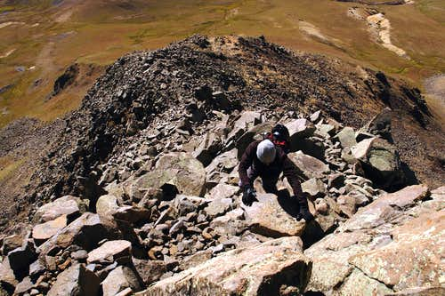Scrambling to the summit of Matterhorn Peak