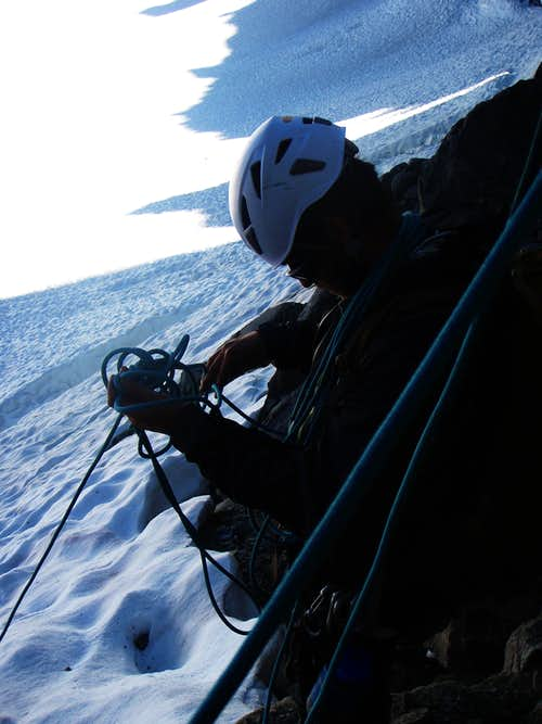 Rigging to Rappel the Palisade Glacier