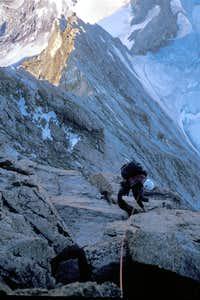 Mike climbing quickly on the upper section of the Arbengrat.  2003