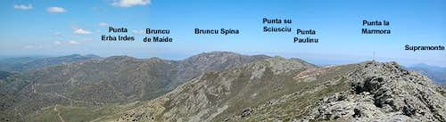 The highest summits of Gennargentu