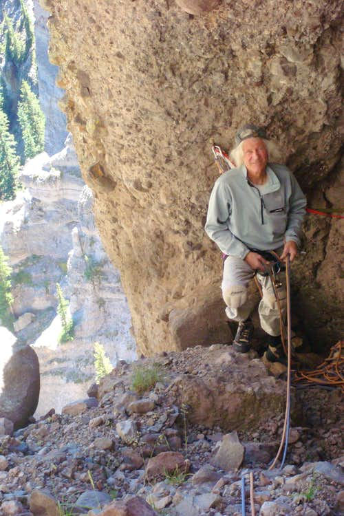 Belay station at the end of 2nd pitch