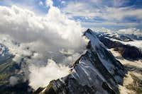 Dent d'Herens (4171m) from Matterhorn  Liongrat-italian normal route