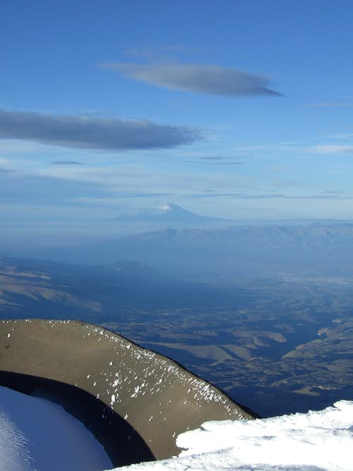 Cotopaxi crater with chimborazo