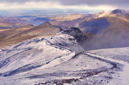 Looking down to Llanberis from Snowdon