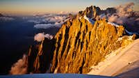 Sunset on the Aiguilles