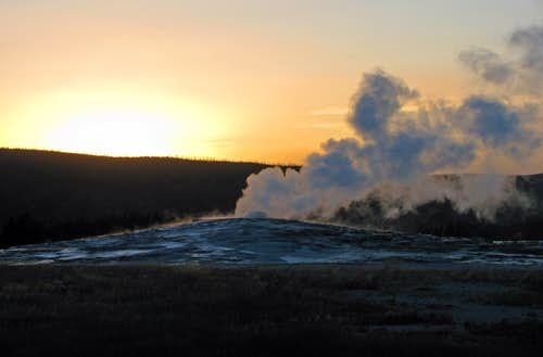 Sunset at Old Faithful