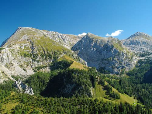 Schneibstein (2276m) and Windschartenkopf (2211m) seen from the Jenner in September