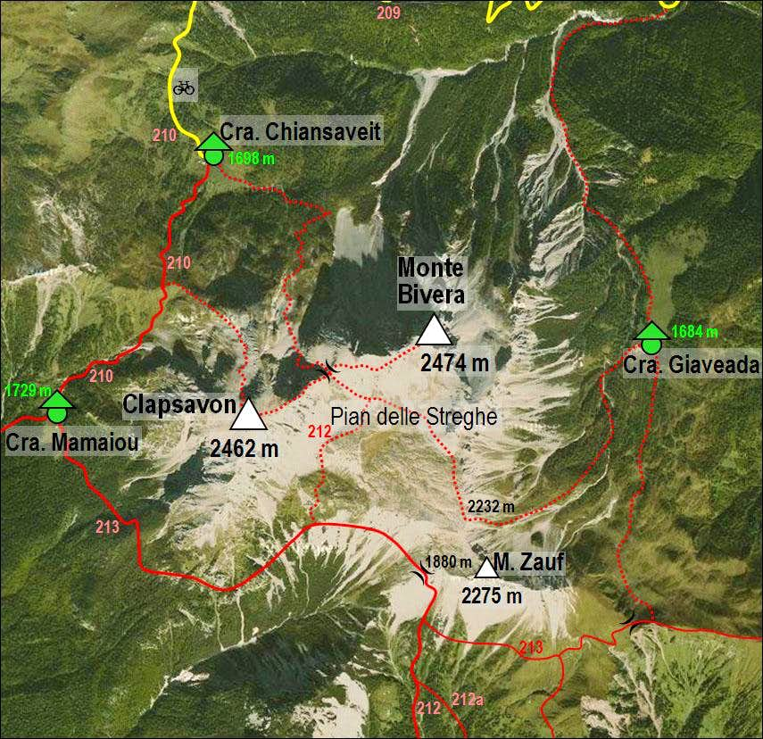 Monte Bivera and Clapsavon map