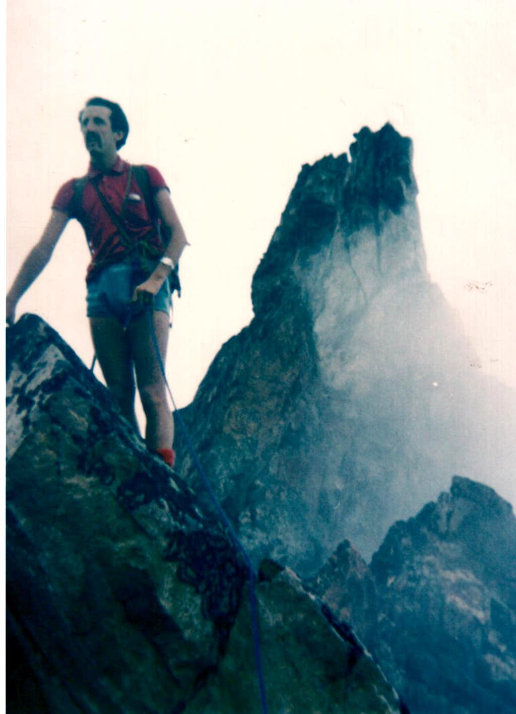 EMILIUS's SW Buttress, First Ascent 1974: Descendig from Comboé's TRIDENT