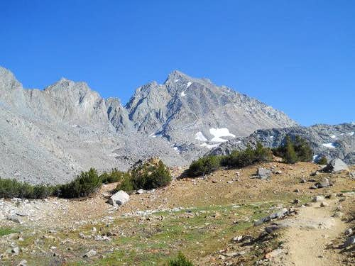 Looking back at the towering Mount Agassiz on the way back down the Bishop Pass in the afternoon