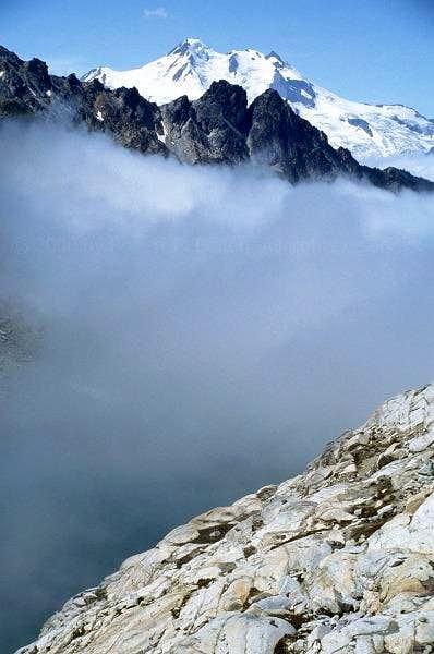 The top of Glacier Peak is...