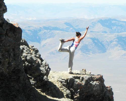 Dancer while dancing on the rocks of Chicken Out Ridge, Mt. Borah