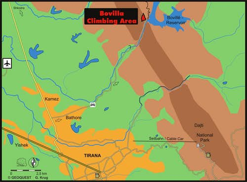 Map - Route to Lake Bovilla and its Gorge
