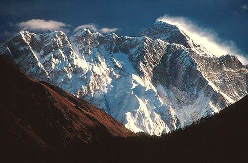 The huge bulk of Mount...