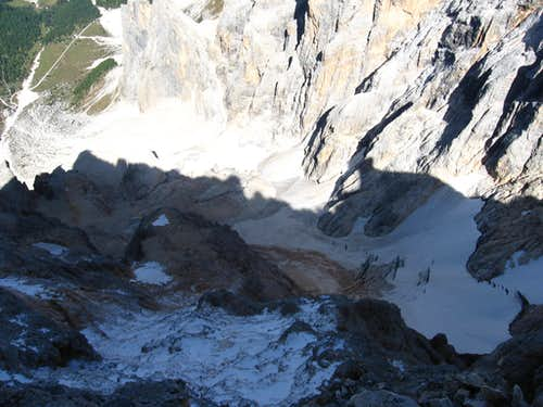 From the summit, view to the ghiacciaio del Travignolo and the north wall.