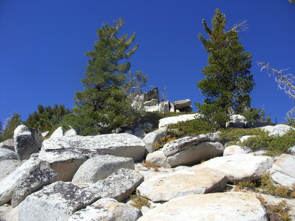 Looking up at the summit
