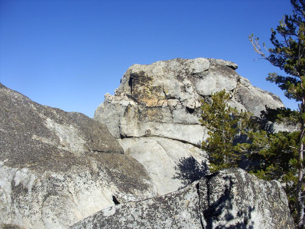Class 4 rocky tower below the summit