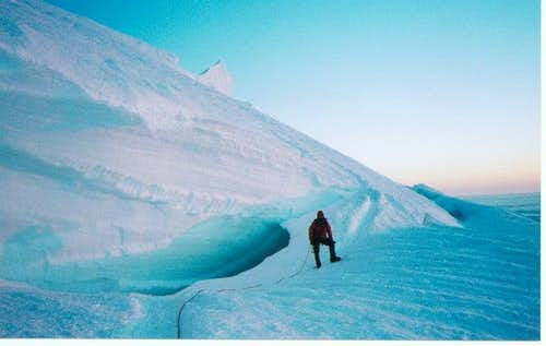 Crossing a snowbridge at...