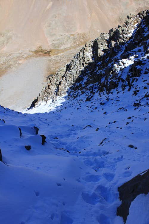 Looking down the north couloir