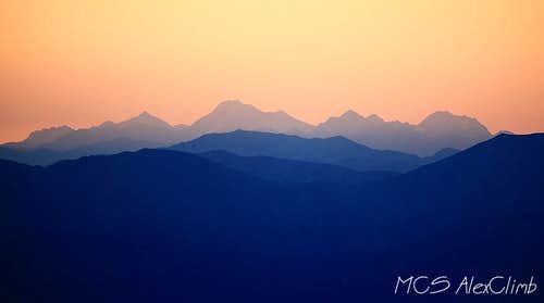 Sunset view of some distant mountains from Layla