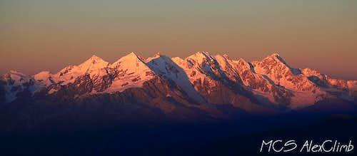 Sunset view of Tetnuld and whole Bezengi massif from Layla