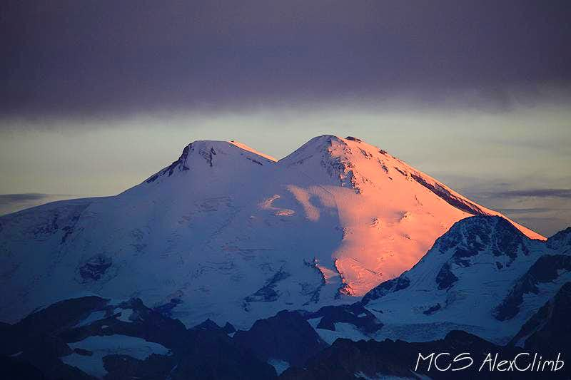 Elbrus sunrise view from Layla