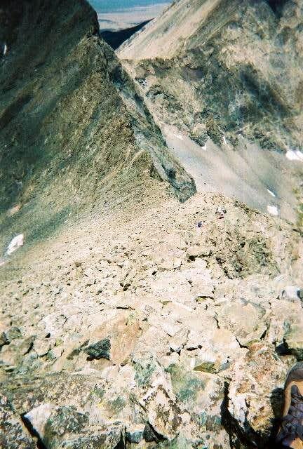 Looking down the NW ridge,...