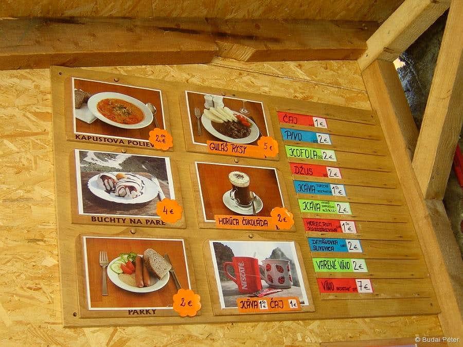 Chata pod Rysmi - the menu