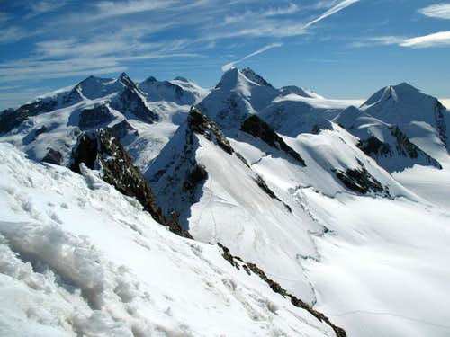 from top of the central summit looking over the minor Breithorn peaks towards Monte Rosa